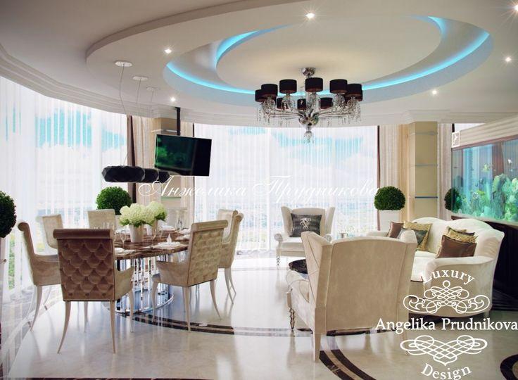 Дизайн проект интерьера гостиной с аквариумом в ЖК Дубровка в стиле модерн - фото