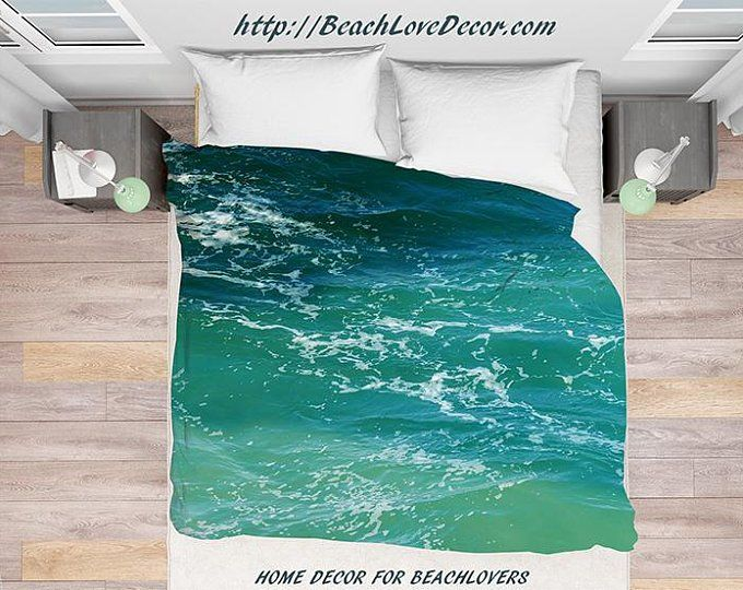 Turquoise Water Duvet Cover Personalized Water Bedding Cover Etsy Ocean Bedding Beach House Decor Duvet Covers