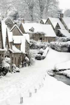 Bibury Village, England, in the winter.                                                                                                                                                                                 More