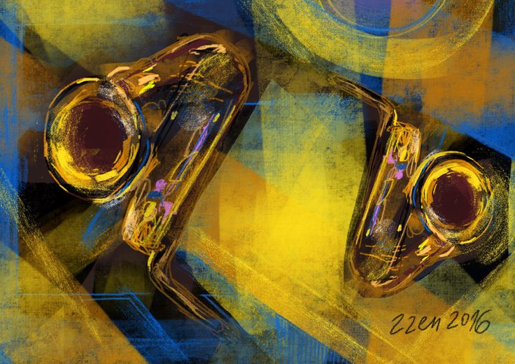 Two saxophones #digital #painting #procreateart