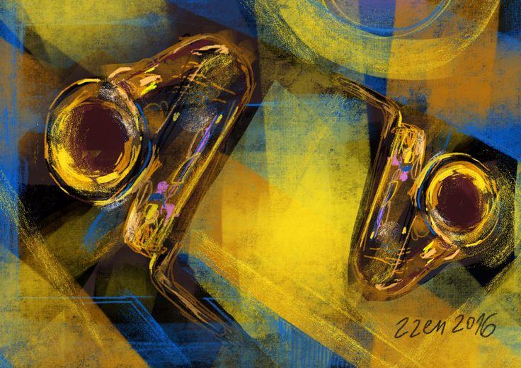 Two saxophones #digital #painting #art #procreateart