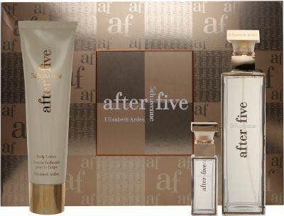 5th Ave After Five by Elizabeth Arden for Women 3 Piece Set Includes: 2.5 oz Eau de Parfum Spray + 0.33 oz Eau de Parfum Spray + 3.3 oz Moisturizing Body by Elizabeth Arden. $39.06. 3.3 fl. oz. Body Lotion. .33 fl. oz. Touch-on Parfum. 2.5 fl. oz. Eau de Parfum Spray. 5th avenue after five is a modern oriental that will take you effortlessly from day into night. Incredibly sensual, totally unexpected. Available in a three-piece set.   2.5 fl. oz. Eau de Parfum Spray  3.3 fl. oz....