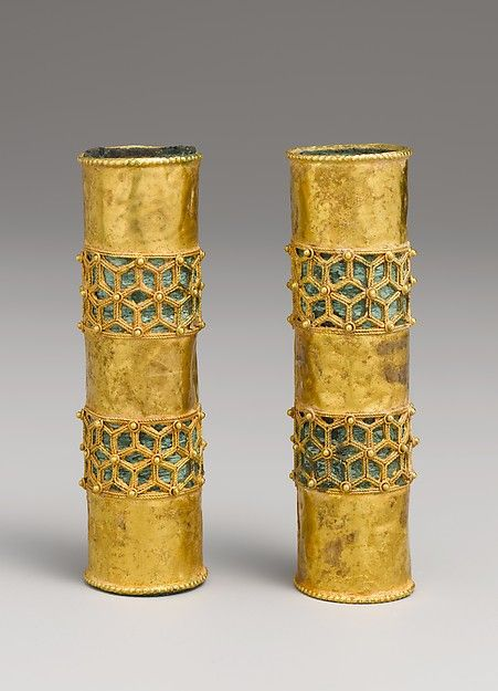 Pair of Hair Ornaments (Object Name: Hair ornament Date: 12th–13th century Geography: Iran, Gurgan Culture: Islamic Medium: Gold; cast, fabricated, engraved, with a copper alloy inner sleeve, decorated with twisted wire and granulation)