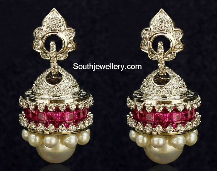 18 carat gold jhumkas adorned with diamonds, rubies and south sea pearls from Srinath Jewellers.
