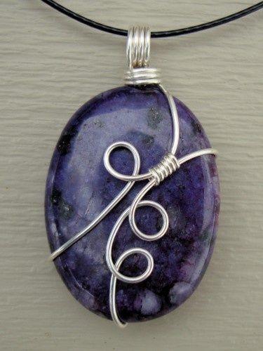 Oval Purple Sugilite Wire Wrap Necklace Pendant