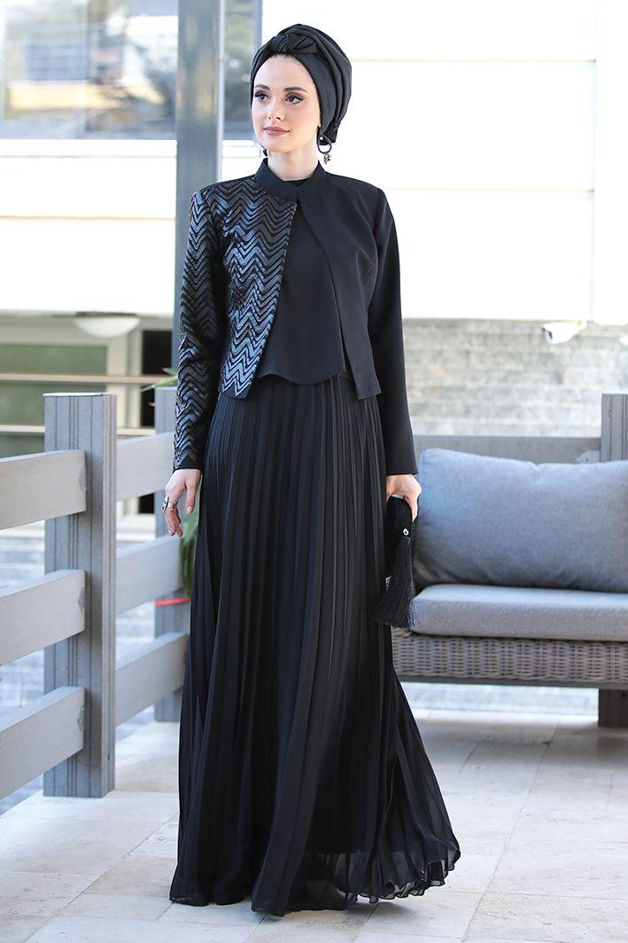 Tesettur Abiye Elbise Tunik Modelleri Nilufer Kamacioglu Deri Detayli Ceket Bluz Plise Etek Takim Moda Stilleri Elbise Basortusu Modasi