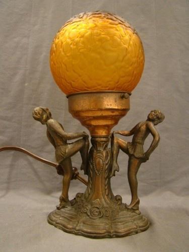 Antique Art Deco Dancing Flapper Girl Dancer Figural Show Girl Old Boudoir Lamp | eBay