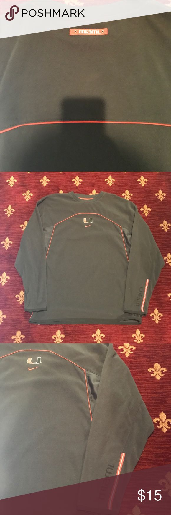 Nike Miami Hurricanes L/S shirt In fantastic condition. It's made out of a fleece like material which makes it very comfortable for use. Nike Shirts Tees - Long Sleeve