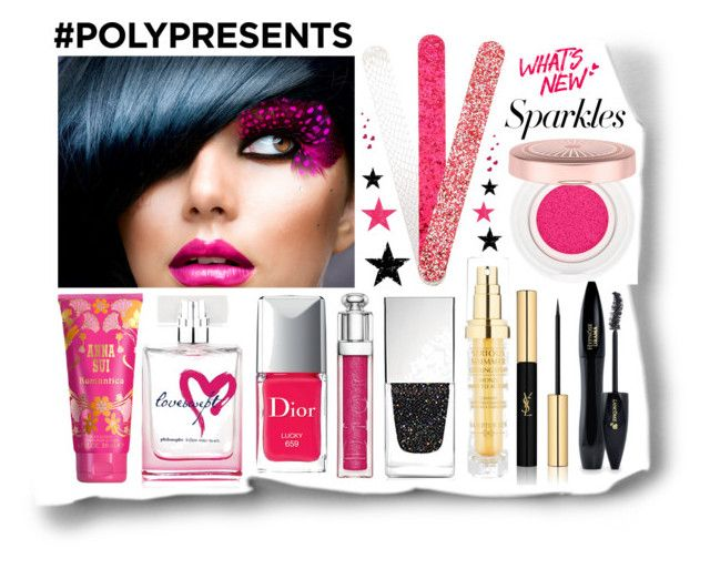 #PolyPresents: Sparkly Beauty by igiulia on Polyvore featuring beauty, Lancôme, Christian Dior, Yves Saint Laurent, philosophy, Anna Sui, Hampton Sun, Givenchy, Tim Holtz and contestentry