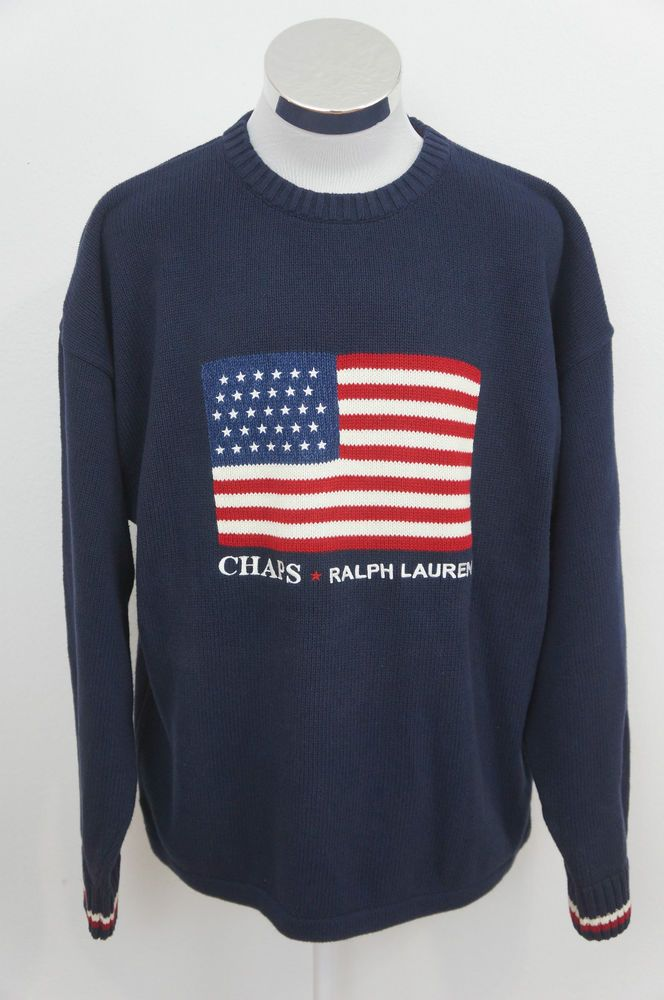 Chaps Ralph Lauren Hand Framed Mens Navy Blue American Flag ...