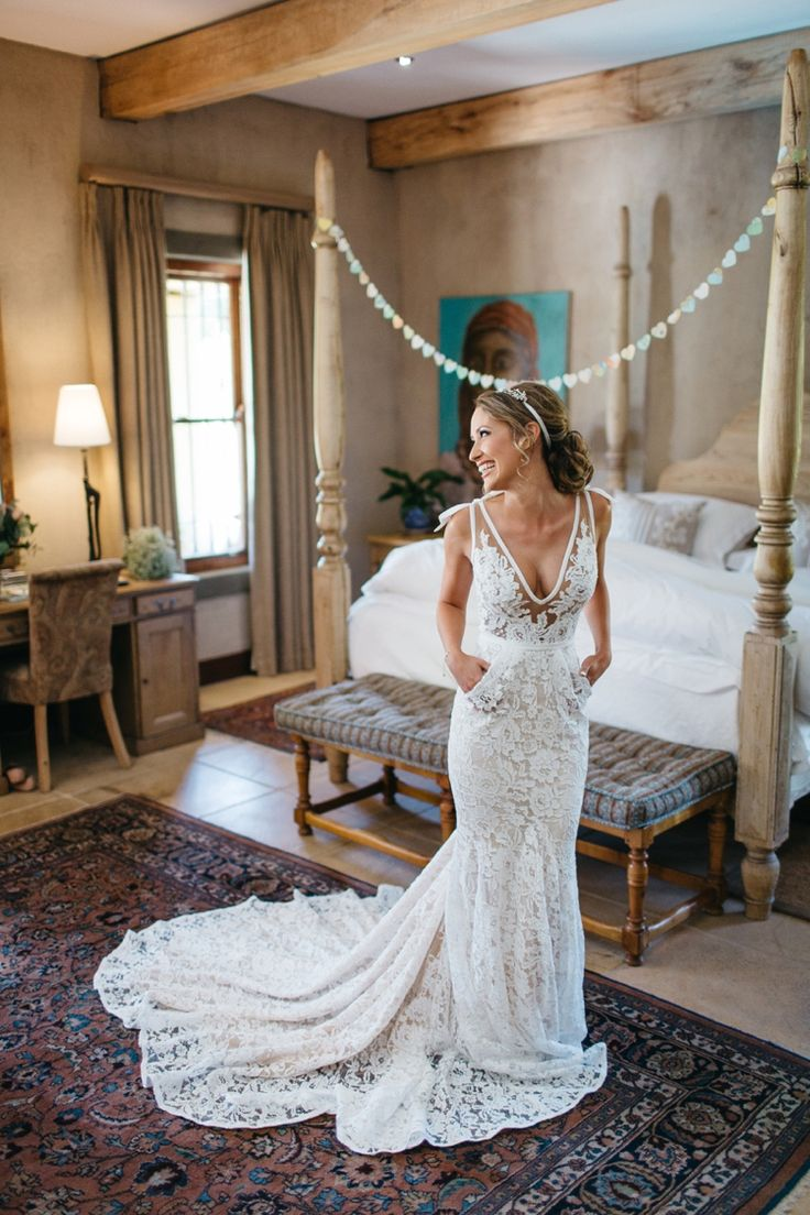 A dream dress. http://flyawaybride.com/an-irish-wedding-in-franschhoek-south-africa/ Photography: Kikitography / Florist: Leipzig Reception venue: La Petite Dauphine / Bridal gown: Inbal Dror.