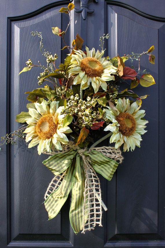 http://www.pinterest.com/Brendacurrie1/wreaths/  Sunflower Wreath   Wreaths  Summer Wreaths for by OurSentiments