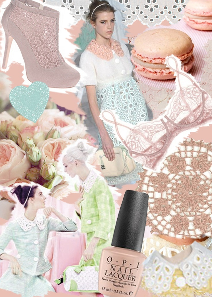 P.S.- I made this...: Pastels, Pastel Cerveza Tennis, Diy Fashion, Pastel Pink, Fashion Mood Boards, Lace Collars, Fashion Blog, Pretty Pastel, Pastel Colors