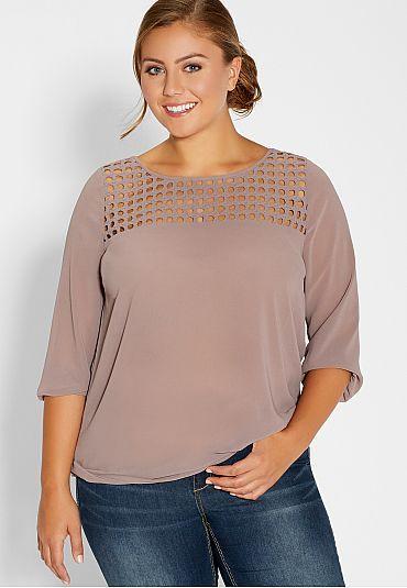 plus size chiffon blouse with draped back