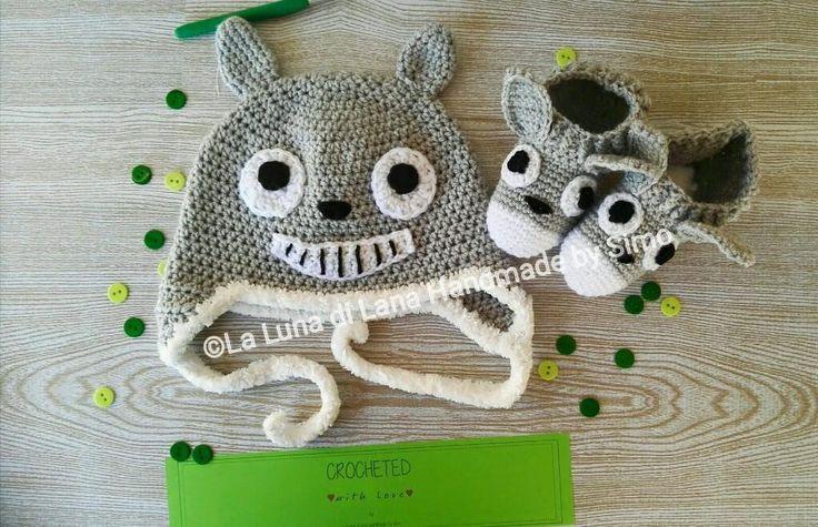 Cappellino e pantofoline ispirato a Totoro per bimbo o bimba, by La Luna di Lana - Handmade by Simo, 35,00 € su misshobby.com