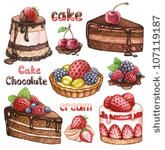 Collection of watercolor cakes by Sundra, via Shutterstock