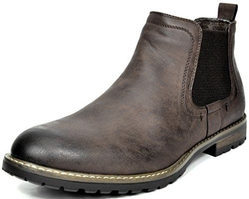 Bruno Marc Men's Philly-2 Dark Brown Leather Lined Chelsea Boot