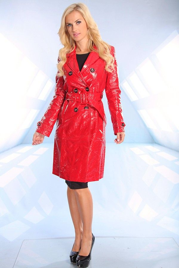 Red Crinkle Patent Leather Button Waist Tie Trench Coat