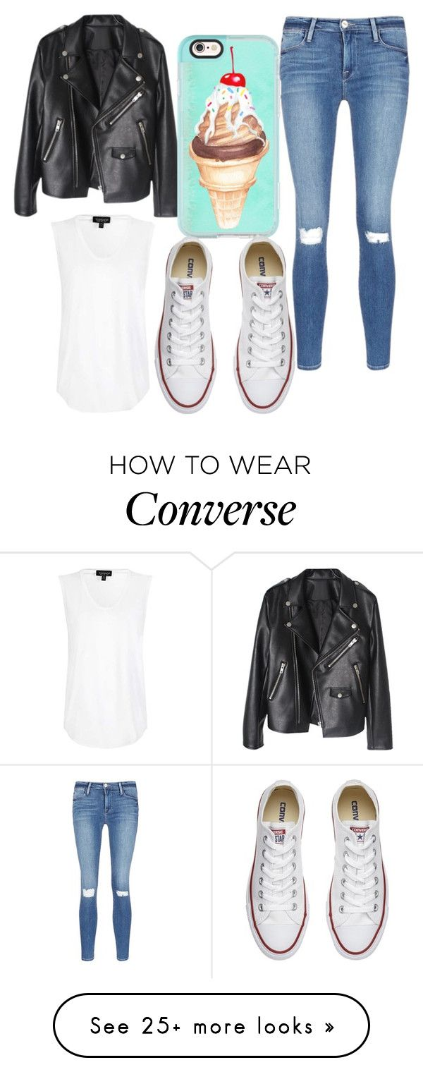 """""""Untitled #378"""" by the-indie-rock-queen on Polyvore featuring Frame Denim, Topshop, Casetify and Converse"""