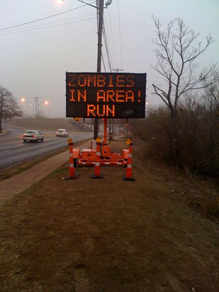 zombies: Zombies Apocalyp, Funny Zombies, Roadsign Hacks, Walks Dead, Funny Pictures, Roads Signs, Zombies Humor, Running Motivation, Nazi Zombies