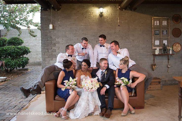 Having fun with the groomsmen and bridesmaids Photographer:  Nanet Skead