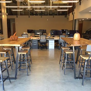 High top communal tables and bar height tables, bar stools ...