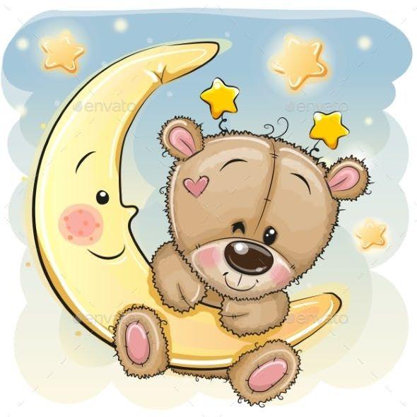 Cartoon Teddy Bear On The Moon Teddy Bear Drawing Teddy Bear Cartoon Teddy Bear Pictures