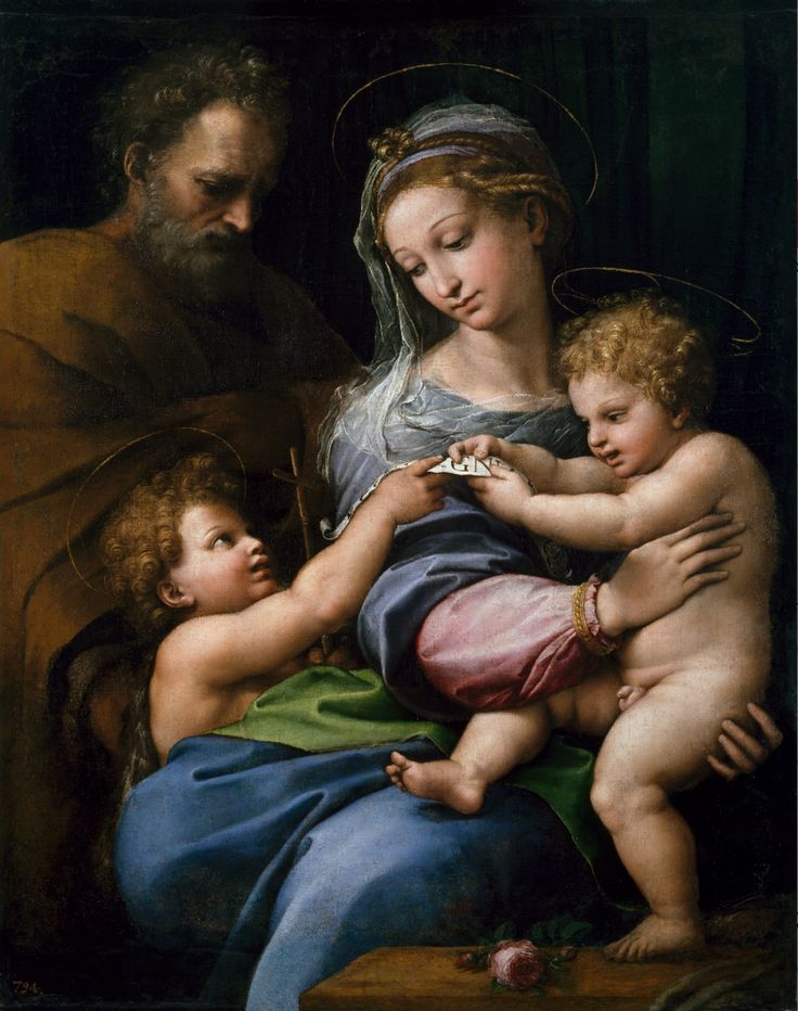 Raphael, Italian 1483–1520, Holy Family with Saint John or Madonna of the Rose (Sacra Famiglia con san Giovannino o Madonna della Rosa) c.1517 oil on canvas, 103.0 x 84.0 cm. Museo Nacional del Prado, Madrid (P00302) Spanish Royal Collection