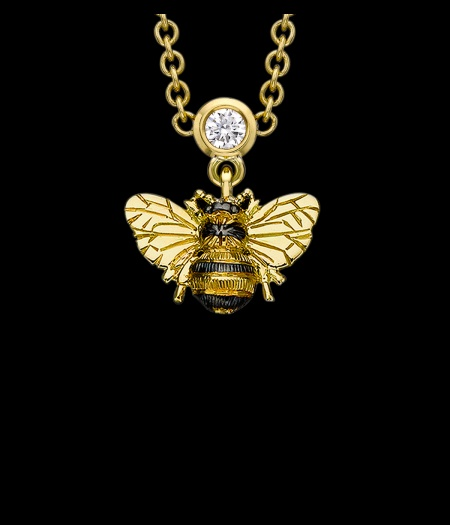 Yellow Gold and Diamond Bee Drop Necklace, by Theo Fennell