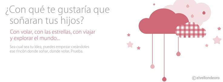 Detalle del vinilo del diseño personalizado de la habitación de una recién nacida. Detalle de una habitación llena de nubes, estrellas, para volar y soñar.  Y vosotros ¿Con qué os gustaría que soñaran vuestros hijos?