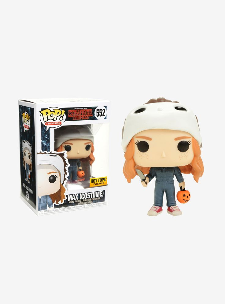 Holy s***, you should have seen the look on your faces!   Max from  Stranger Things  is given a fun, and funky, stylized look as an adorable Hot Topic exclusive collectible Pop! vinyl figure from Funko - in her Halloween costume!  Collect the entire line of Funko Pop! super-stylized vinyl figures from the second season of the Netflix original series. Set a year after Will's return, everything seems back to normal - but a darkness lurks just beneath the surface...    Pop! Television...