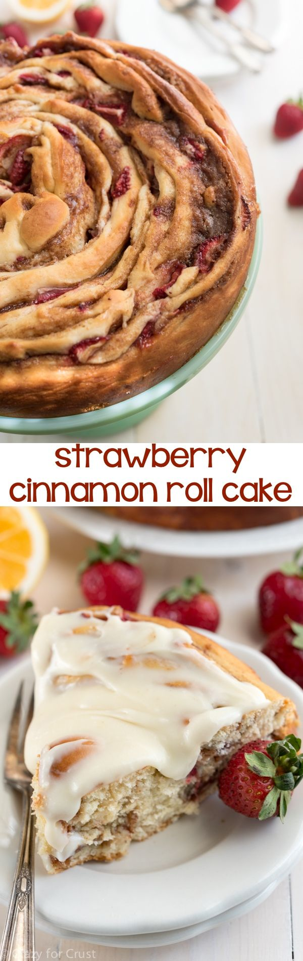 This Giant Strawberry Cinnamon Roll Cake Recipe is perfect for breakfast or brunch. My favorite cinnamon roll recipe is filled with fresh strawberries and then rolled up like a cake and frosted with lemon icing!