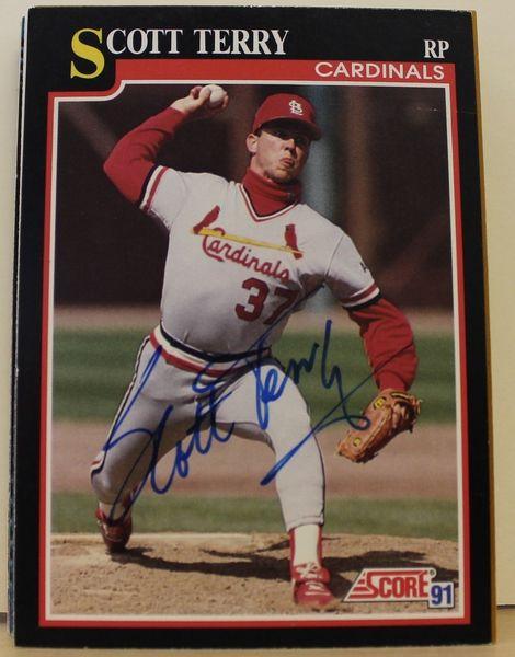 Scott Terry St. Louis Cardinals Autographed 1991 Score Card