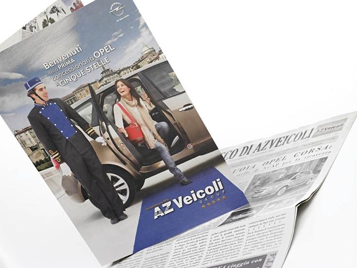 Realizzazione progetto grafico cartelletta e giornale pubblicitario.