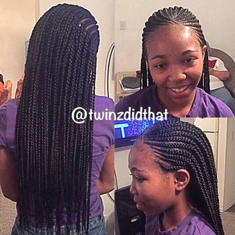 Box Braids With Cornrows In The Front Cornrows With Box