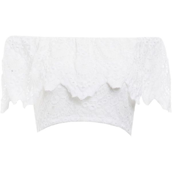 Nightcap Spanish Lace Crop Top (730 PLN) ❤ liked on Polyvore featuring tops, white, crop top, white lace top, lacy tops, lace top and white tops