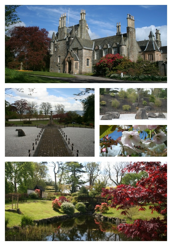 Collage of photographs from a visit to Lauriston Castle and the Edinburgh - Kyoto Friendship Garden.