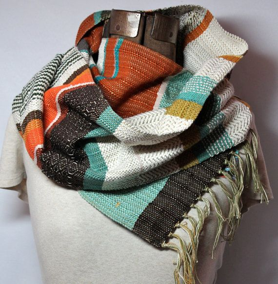 Noah // Handwoven Southwest Fashion // Woven Scarf in Pumpkin & Emerald // Unisex Fashion Accessory