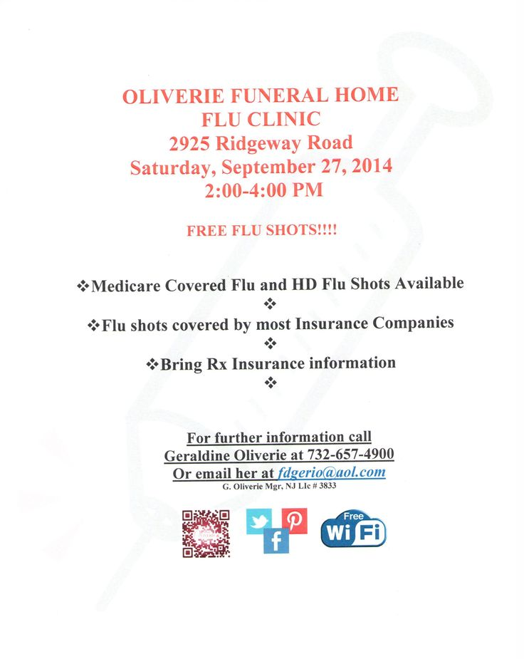 Free Flu Shots at Oliverie Funeral Home on September 27, 2014 from 2-4pm