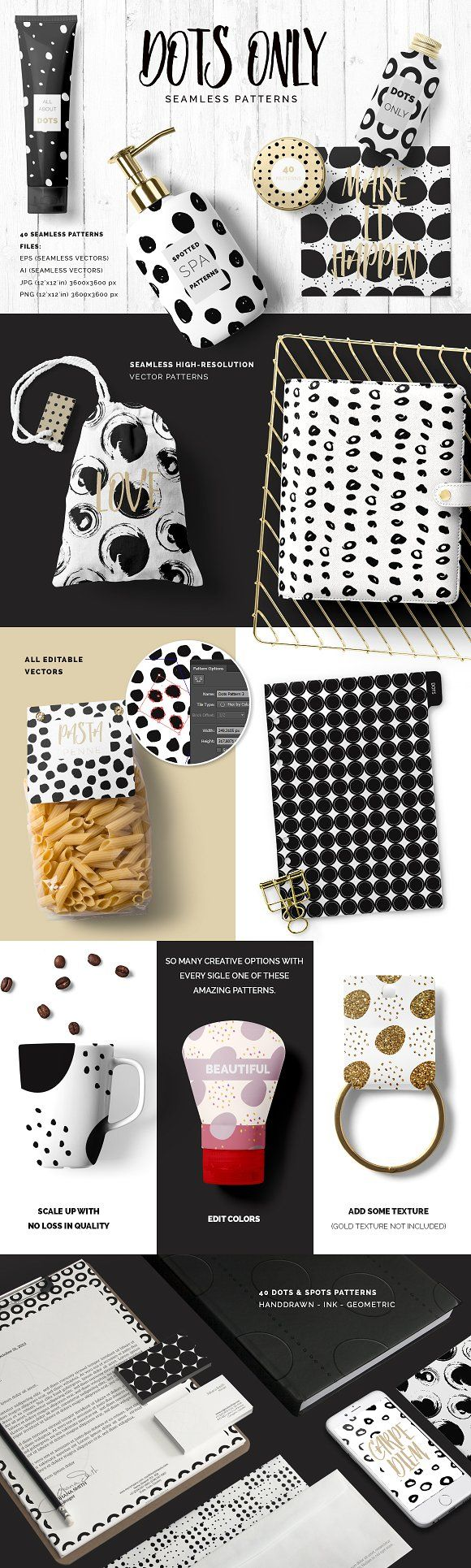 Dots & Spots Seamless Patterns by Youandigraphics on @creativemarket