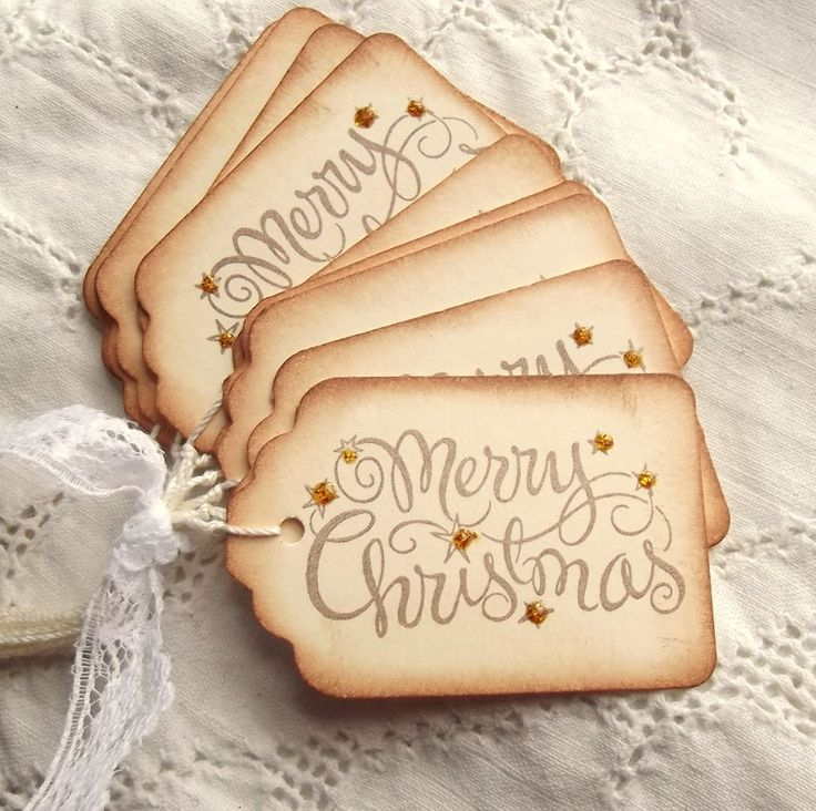 Merry Christmas Tags - Gold Sparkle, Stamped, Cream, Brown. $3.95, via Etsy.