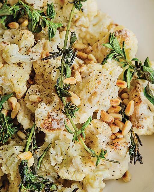 Roasted Cauliflower Salad with Tahini & Oregano
