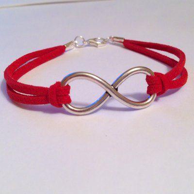 Braccialetto unisex con simbolo dell'infinito e laccetto rosso morbido, con…