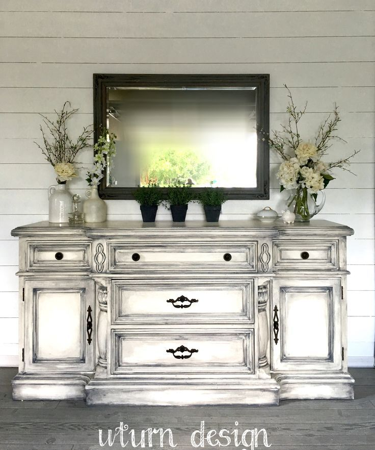White buffet with grey glaze By UTurn design get what you need to achieve this look with 100% Natural CeCe Caldwell's Chalk + Clay Paints products from Vintage Bette.