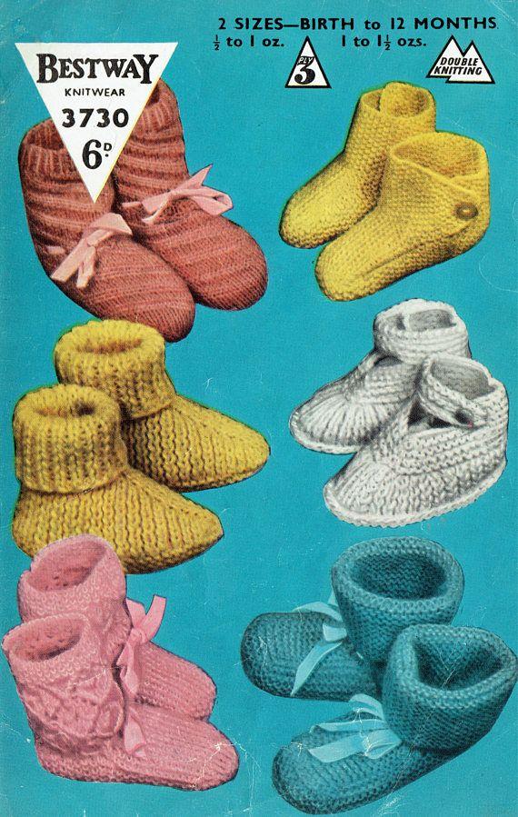 PDF Vintage Baby Bootees Knitting Pattern 1950s Bestway 3730