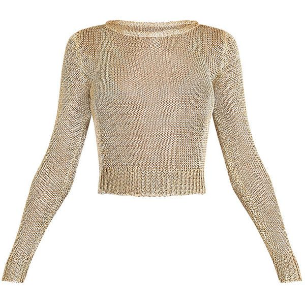Malala Gold Metallic Knitted Crop Jumper (£28) ❤ liked on Polyvore featuring tops, sweaters, white sweater, metallic gold crop top, cropped sweater, cropped jumper and white cropped sweater