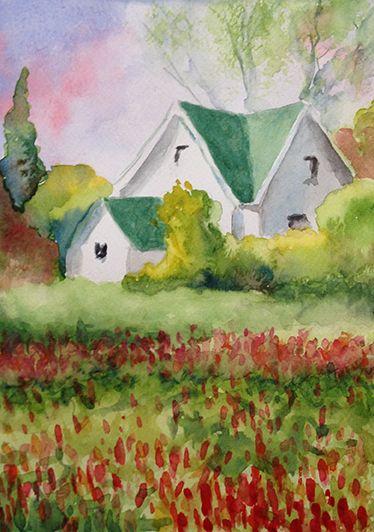 Maison blanche, aquarelle par Annie Collette