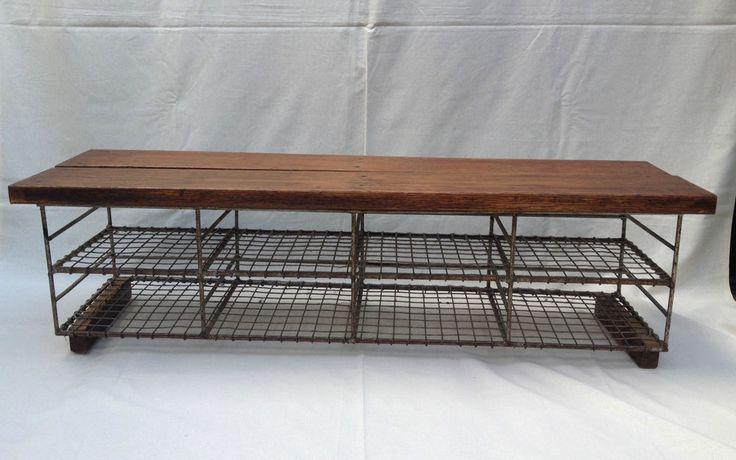 Vintage Industrial School Shoe Rack Store Metal Wire Oak Bench Pigeon Hole