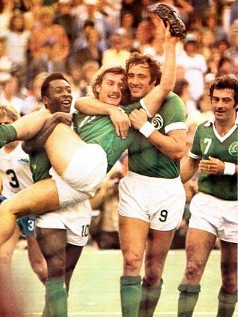 Steve Hunt is hoisted into the air by Pele and Giorgio Chinaglia after scoring the opening goal in the Soccer Bowl 1977. New York Cosmos went on to win the match 2-1.