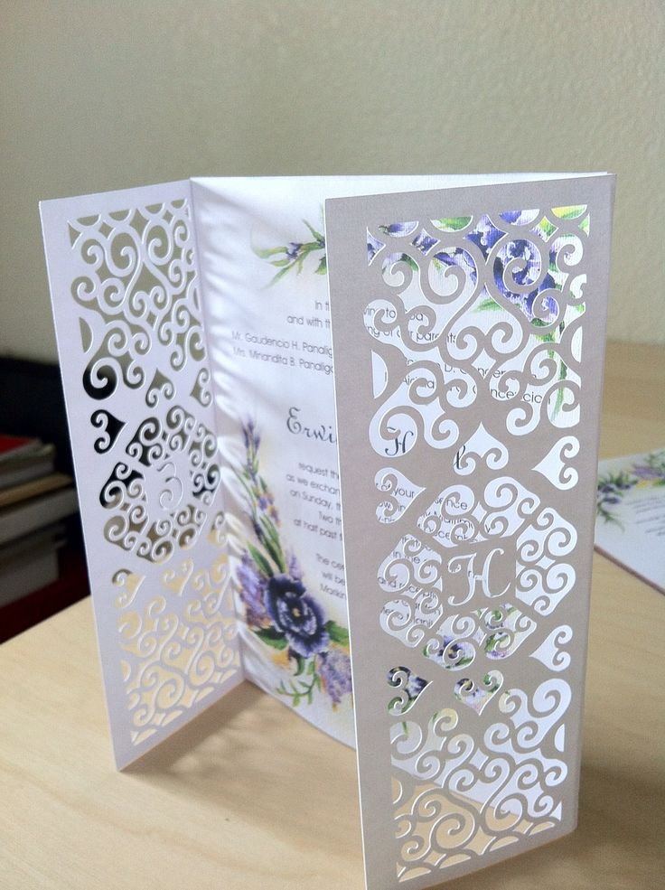 #diy #wedding #invitation. Gatefold was designed and cut using my silhouette cameo. Original Floral artwork was painted with acrylic on canvas then scanned.  Inserts graphic design and text layout done with Indesign and Illustrator. Very fun project!! If reposting please credit me ;)